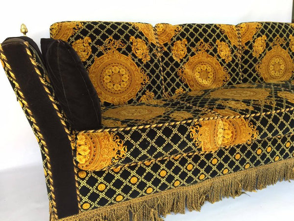 Versace Style Flaired Arm Tuxedo Knole Sofa by Stefano Giovanni