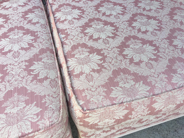 Vintage 4-Piece Hollywood Regency Pink Damask Tufted Sectional Sofa close up