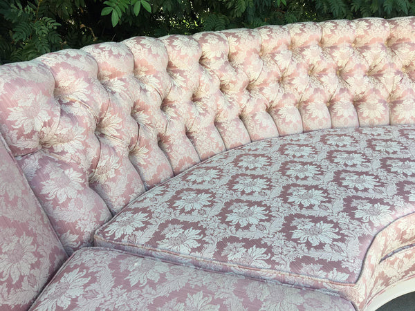 Vintage 4-Piece Hollywood Regency Pink Damask Tufted Sectional Sofa corner section