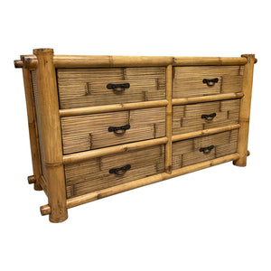 Vintage Bamboo and Rattan Double Dresser