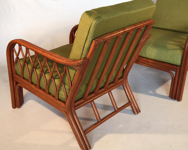 Pair of Vintage Bamboo Lounge Chairs