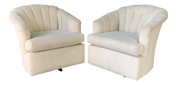 Vintage Channel Back Tufted Swivel Club Chairs, Set of 2