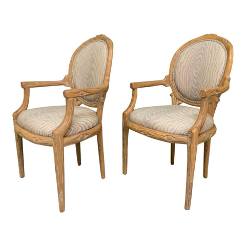 Vintage Faux Bois Dining Chairs, Set of 2