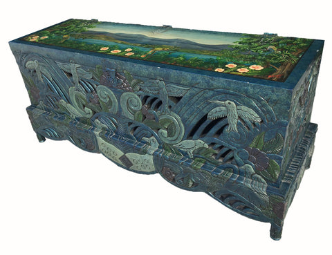 Vintage Hand Carved Tropical Mural Trunk
