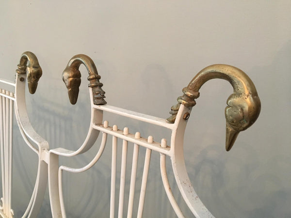 Vintage Lyre Back Regency Swan Head X-Form Wrought Iron Bench close up