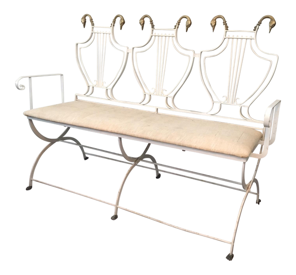 Vintage Lyre Back Regency Swan Head X-Form Wrought Iron Bench