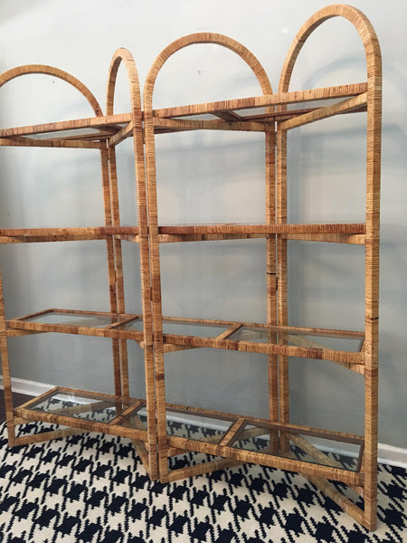 Vintage Palm Beach Folding Rattan Etagere side view
