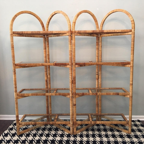 Vintage Palm Beach Folding Rattan Etagere front view