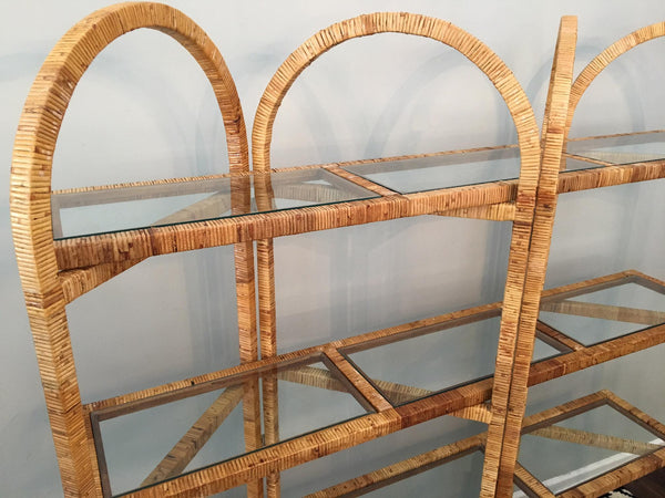 Vintage Palm Beach Folding Rattan Etagere top view