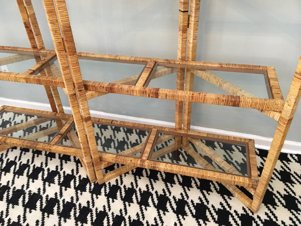 Vintage Palm Beach Folding Rattan Etagere bottom view