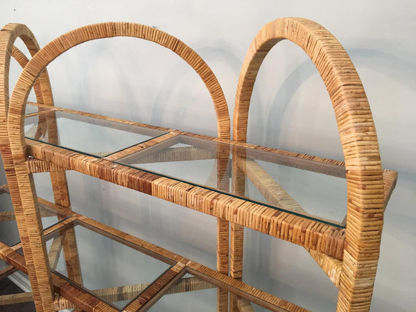 Vintage Palm Beach Folding Rattan Etagere top close up