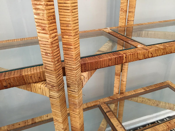 Vintage Palm Beach Folding Rattan Etagere close up