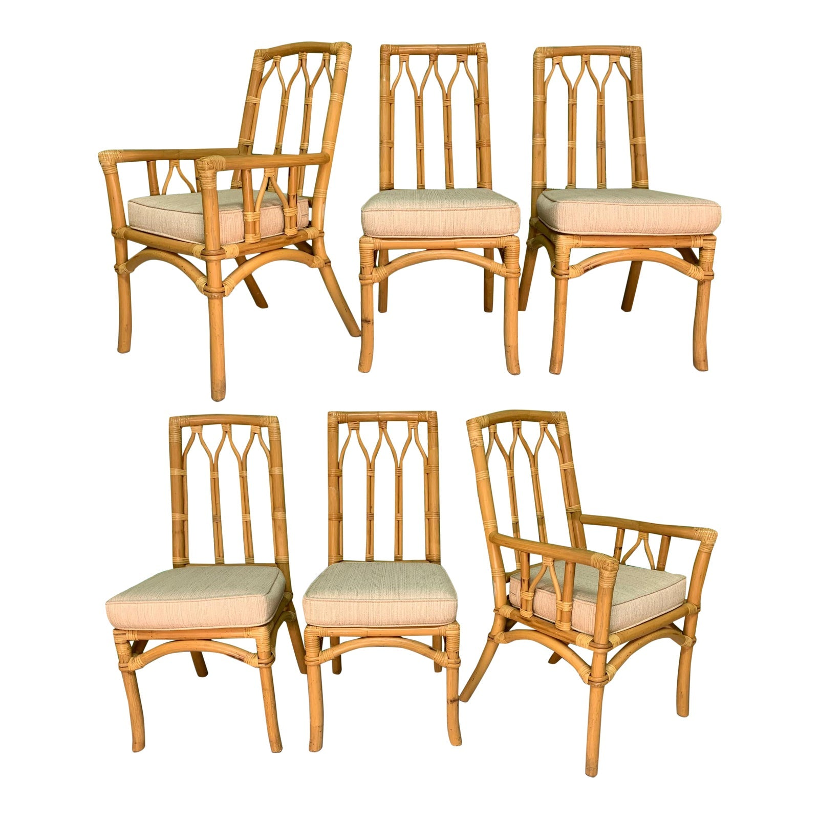 Vintage Rattan Cathedral Dining Chairs - Set of 6