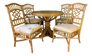 Vintage Rattan Dining Set Table and Four Chairs