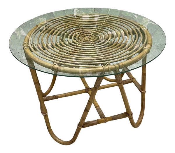 Vintage Rattan Glass Top Side Table