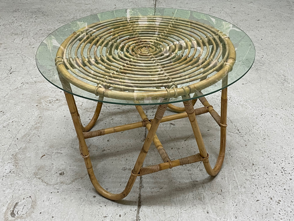 Vintage Rattan Glass Top Side Table front view