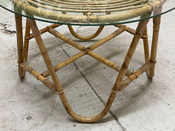 Vintage Rattan Glass Top Side Table side view