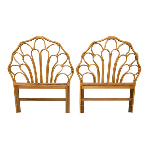 Vintage Rattan Twin Size Headboards, a Pair