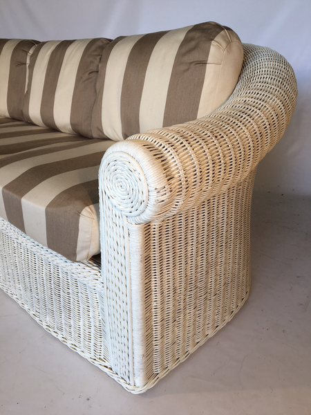 Vintage Sculptural White Wicker Sofa side view