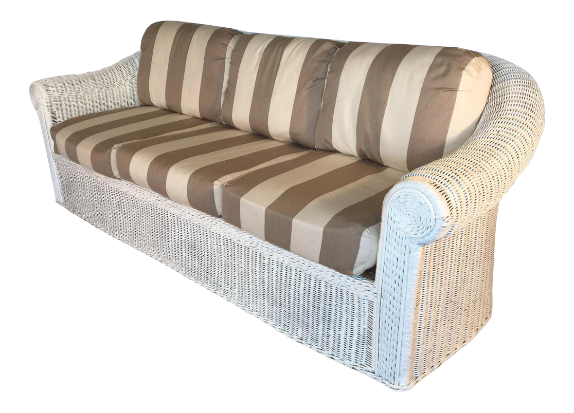 Vintage Sculptural White Wicker Sofa