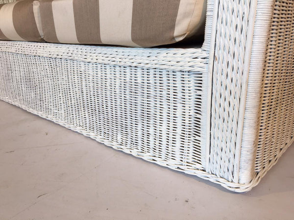 Vintage Sculptural White Wicker Sofa close up