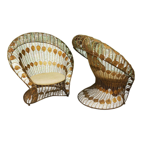 Vintage Sculptural Wrought Iron Peacock Chairs, a Pair