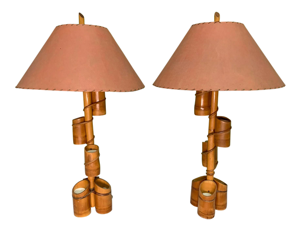 Vintage Tiki Style Rattan and Bamboo Table Lamps front view