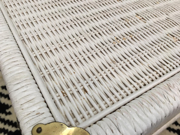 Vintage Wicker and Rattan Trunk surface