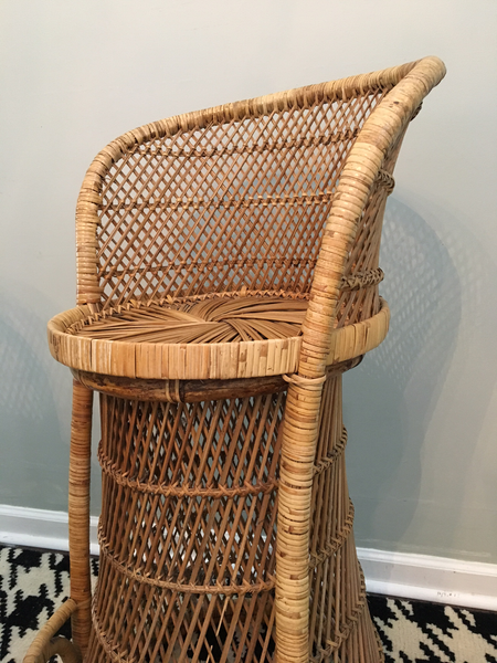 Vintage Wicker Bar Stools front view