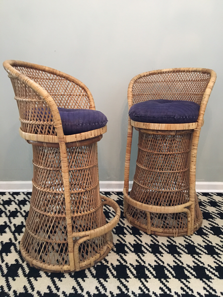 Vintage Wicker Bar Stools with Cushions