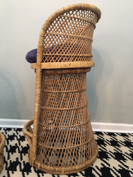 Vintage Wicker Bar Stools rear view