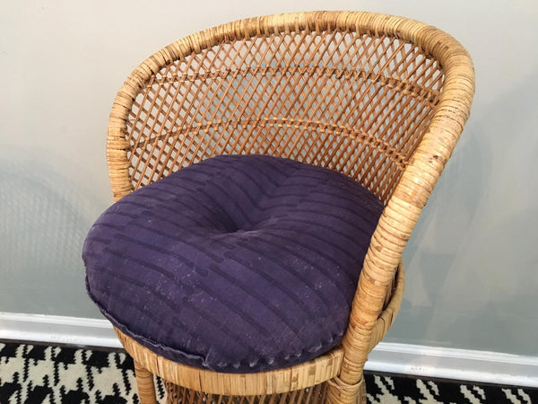 Vintage Wicker Bar Stools seat view with cushion
