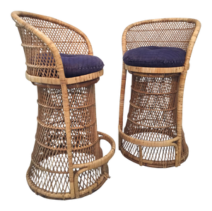 Vintage Wicker Bar Stools