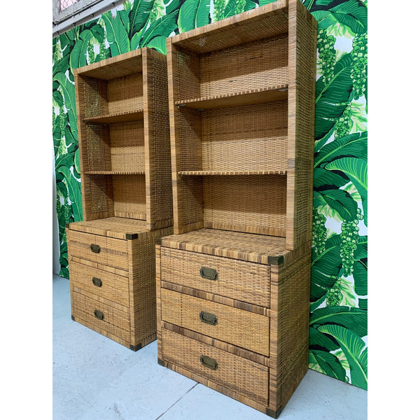 Vintage Wicker Wall Unit Bookshelves and Cabinets side view