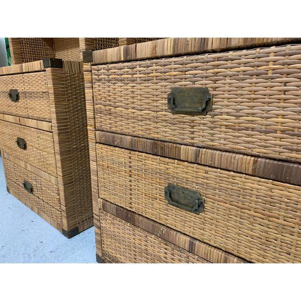 Vintage Wicker Wall Unit Bookshelves and Cabinets
