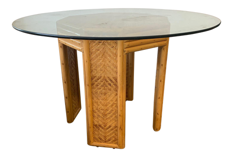 Vintage Woven Rattan Pedestal Dining Table