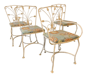 Vintage Wrought Iron Patio Chairs, Set of 4