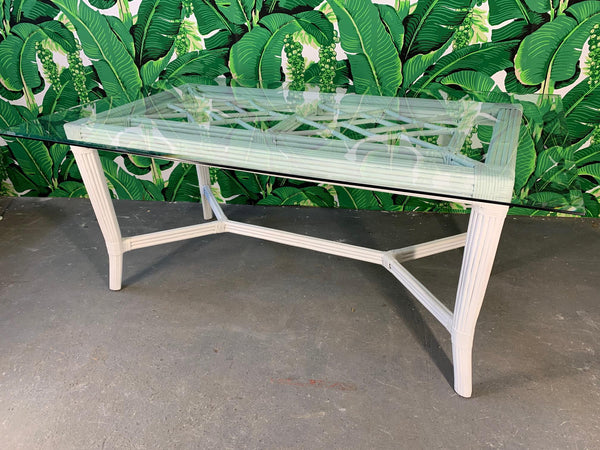 White Rattan Faux Bamboo Chinoiserie Dining Table