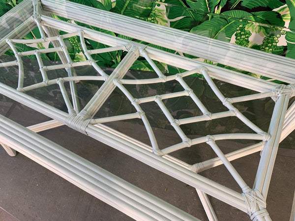White Rattan Faux Bamboo Chinoiserie Dining Table top view