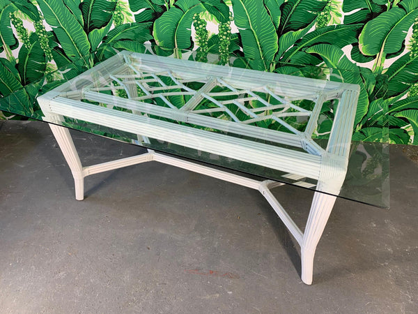 White Rattan Faux Bamboo Chinoiserie Dining Table front view