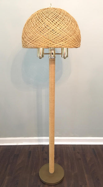 Wicker and Rattan Floor Lamp with Shade