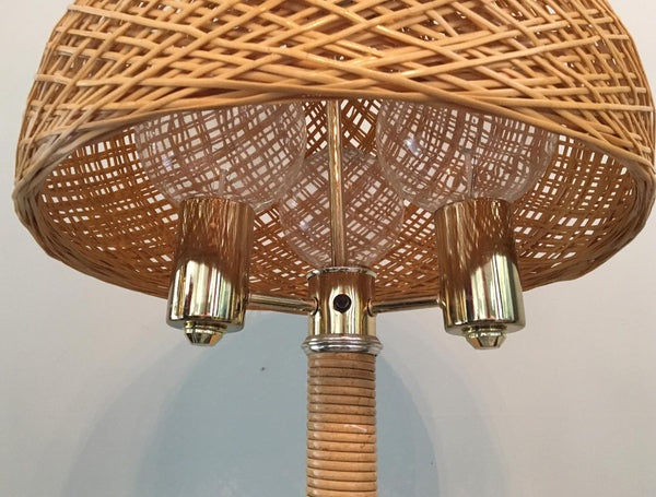 Wicker and Rattan Floor Lamp close up