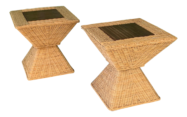 Wicker Sculptural End Tables, Set of 2