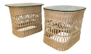 Woven Rattan and Wicker End Tables front view