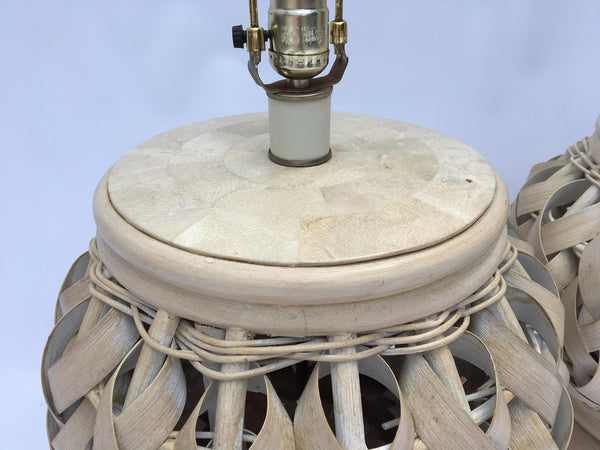 Pair of Woven Wide Rattan Table Lamps top view