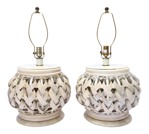 Pair of Woven Wide Rattan Table Lamps