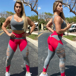 BUTT SCRUNCH LEGGINGS GRAY DARK PINK RIPPED