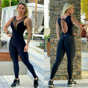 BUTT SCRUNCH CLEAVAGE BLACK TEXTURE WAVE JUMPSUIT - Iris Fitness home of good quality leggings with really good prices