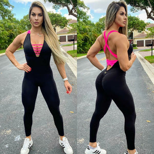 IRIS FITNESS JUMPSUIT BUTT SCRUNCH CROSSED BACK HOT PINK & BLACK JUMPSUIT also called Booty Scrunch Leggings