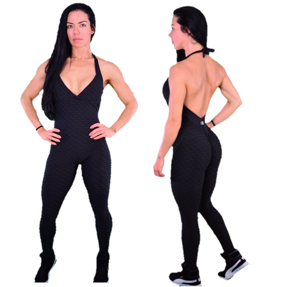 BUTT SCRUNCH SEXY BACK BLACK TEXTURE WAVE JUMPSUIT - Iris Fitness home of good quality leggings with really good prices